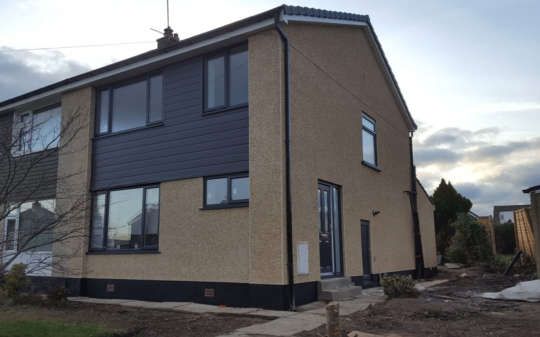 Pebble dashing job using Johnstone's stormshield render products